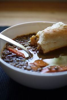french lentil soup from Honest Fare -- Great soup. Used french lentils, 1 tsp salt, no miso. Would be great with chopped green beans too. French Lentil Soup, French Lentils, Lentil Soup Recipes, Vegetarian Recipes, Cooking Recipes, Vegan Vegetarian, Great Recipes, Favorite Recipes, Soup Kitchen
