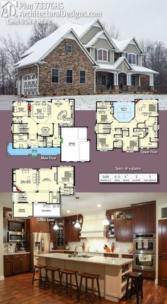 Our client built Architectural Designs Exclusive House Plan in reverse orientation in Indiana. This plan gives you over heated living space, bed, 4 bath. Where do YOU want to build? The Plan, How To Plan, Dream House Plans, House Floor Plans, My Dream Home, Dream Homes, Architecture Design, Four Rooms, Built In Bench