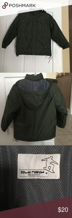 Boys puffer coat Old Navy army green boys puffer coat. String came out of bottom as shown in picture 4.. no big deal I never even used that string. Other than that great condition!! Old Navy Jackets & Coats Puffers