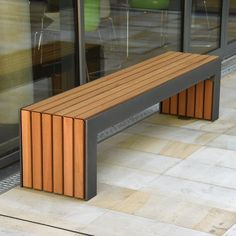 Plaza I Bench Contemporary Street Furniture Broxap Diy Garden Furniture, Wooden Pallet Furniture, Diy Outdoor Furniture, Bench Furniture, Diy Furniture Projects, Street Furniture, Apartment Furniture, Banco Exterior, Metal And Wood Bench