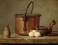 Jean Baptiste Simeon Chardin Still Life with Copper Cauldron and Eggs oil painting for sale; Select your favorite Jean Baptiste Simeon Chardin Still Life with Copper Cauldron and Eggs painting on canvas or frame at discount price. Louvre Paris, Art Populaire, Copper Pots, Poster Prints, Art Prints, Painting Still Life, Grand Palais, Oil Painting Reproductions, Cooking Utensils