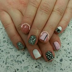 Vegas nails. Black,pink and white.