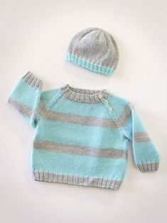 Baby Knitting Patterns Jumper baby sweater and hat knitting patterns, I like these colors! Baby Boy Knitting Patterns, Baby Sweater Patterns, Knit Baby Sweaters, Knitted Baby Clothes, Knitting For Kids, Baby Patterns, Free Knitting, Knitted Hats, Knit Patterns