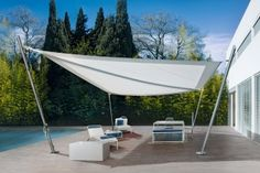 Ever try a tension shade sail? Futuristic looking yet a terrific complement to both traditional and modern landscapes, shade sails lend a sculptural quality to patios. (Prudential PenFed Realty - Equal Housing Opportunity) Image via Corradi Diy Pergola, Metal Pergola, Pergola With Roof, Cheap Pergola, Metal Roof, Outdoor Rooms, Outdoor Gardens, Outdoor Living, Outdoor Decor