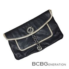 """BCBGeneration clutch 100% Authentic adorable large BCBGeneration clutch, this is like new!! Only wear once... Beautiful Black faux leather material. Dimensions are 11""""X7"""". Comes from smoke free home. BCBGeneration Bags Clutches & Wristlets"""