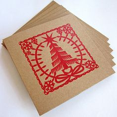 monochromatic hand printed christmas cards