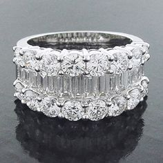 Lady's Cocktail Ring Round Brilliant, Baguette Cut Diamond.