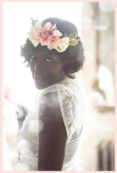 Vintage Silk Flower and Feather Bridal Crown-Head Wreath Bohemian Vintage Bride Spring Wedding Lana Del Rey