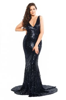A&N Curve Crown- Navy Sequin Gown with Plunge Neckline & Mermaid Train – A&N Luxe Label Curve Prom Dresses, Geometric Fabric, Sequin Gown, Casual Dresses, Formal Dresses, Jumpsuit Dress, Ladies Dress Design, Special Occasion Dresses, Plus Size Dresses