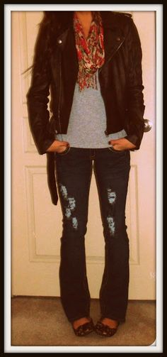 Leather Jacket: F21  Top: F21  Jeans: Ross  Leopard Flats: Charlotte Russe  Scarf: Thrifted