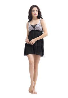 Silk women nightwear babydolls--Black-(Georgette) babydolls #Silk #babydolls | Revesilk.com