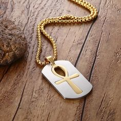 Removable Ankh Necklace Pendant Surgical Steel Life Cross Egyptian Men Jewelry Gold Plated The Key of the Nile Ankh Necklace, Pendant Necklace, All About Fashion, Passion For Fashion, Diva Fashion, Beautiful Gifts, Chain Pendants, Fashion Pictures, Cross Pendant