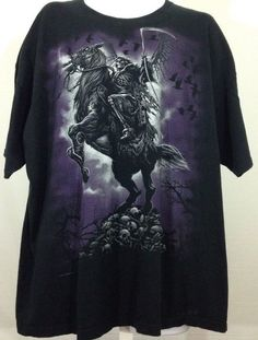 Grim Reaper Riding Horse of Death Skeleton and Skulls Men's T Shirt Size 3XL | eBay