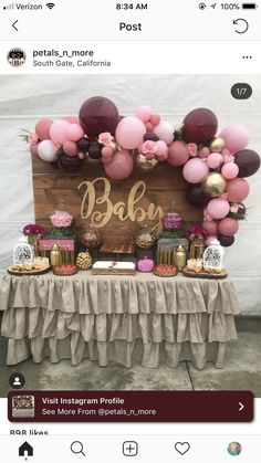 Deco Baby Shower, Baby Shower Backdrop, Shower Bebe, Baby Girl Shower Themes, Girl Baby Shower Decorations, Gold Baby Showers, Baby Shower Winter, Baby Shower Gender Reveal, Burgundy Baby Shower