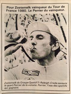 Joop Zoetemek drinkt Perrier - 1980 Tour de France - Advertentie in Miroir de Cyclisme.