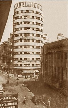 City Block/Adriatica/Tehnoimport (Bucureşti) Cylindrical tower block was designed in 1935 by architect H. Old Pictures, Old Photos, Little Paris, Bucharest Romania, Architecture Old, Old City, Places To Visit, City Block, Travel