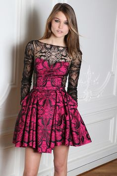 Zuhair Murad hot pink black lace dress Fall 2014 RTW.