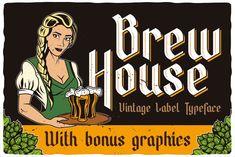 Brew House Label Font #font #alphabet #typeface #abc #beauty #glass #pub #lager #container #beverage