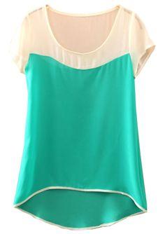 Green Batwing Short Sleeve Dipped Hem Chiffon Blouse - Sheinside.com
