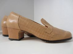 Items similar to Tan Perforated Shoes by Aaltonen, US EUR 38 UK 5 // Vintage Heeled Walking Shoes on Etsy Tap Shoes, Dance Shoes, Vintage Heels, Office Chic, Uk 5, Walking Shoes, Finland, Im Not Perfect, Denim