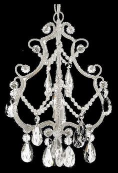 SMALL CRYSTAL CHANDELIER Exquisite 1 LIGHT White Iron Ceiling Hanging Fixture