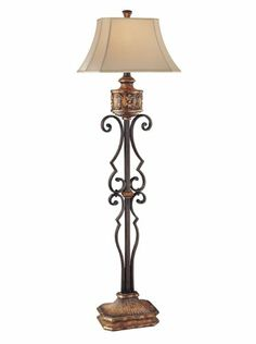 Ambience 22199 0 Traditional/Classic Floor Lamp, Habana Night With Gold  Highlights Minka