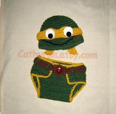 Baby NinJa Turtle Hat Diaper Cover Set pattern on Craftsy.com