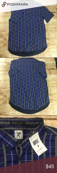 """Marc ecko plaid button down New with tags blue short sleeve button down has a solid blue faux under shirt look at the button - offers welcome, bundle 2 or more items in my closet using the """"bundle"""" feature and receive 15% off of your total purchase! Shirts Casual Button Down Shirts"""