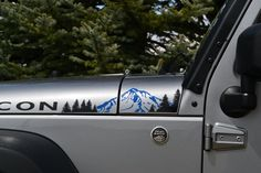 This decal is custom designed to fit on a Jeep Wrangler JK (2007-2015) and comes in set for driver and passenger sides.  This decal is 16in x 4in