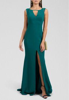 Alugue o Vestido Melanie longo com fenda frontal Marcelo Quadros - verde