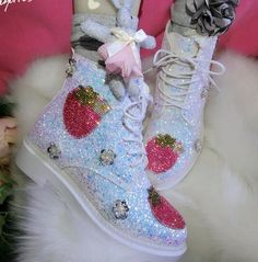 Women Glitter Flower Sweet Sequins Lace Up Ankle Boots Chukka Round Toe Shoes