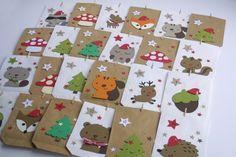 ♥♥♥*Adventskalender Waldtiere*♥♥♥  Ein echter Hingucker:  ♥ 24 Adventskalendertüten mit Waldtieren, Pilze, Tannen, Nüsse und vieles mehr.  ♥ In diesen Tüten haben Überraschungen sehr viel...
