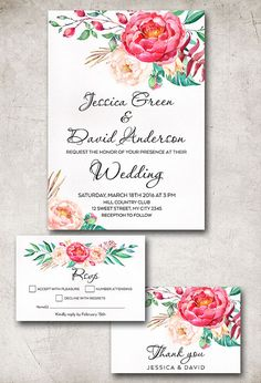 Wedding Invitation Suite, Floral Wedding Invitations, Spring Summer Wedding Ideas, Watercolor Wedding Invite, Flowers Invitation. Pink Peony Wedding Invitation. More wedding stationery at: tranquillina.etsy.com
