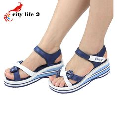 Bowtie Casual Sandals Women 2015 New Vietnamese Shoes Pink Blue Wedges Platform Shoes Summer Zapatos #>=#>=#>=#>=#> Click on the pin to check out discount price, color, size, shipping, etc. Save and like it!