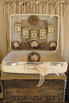 Vintage Suitcase Wedding Card Holder Shabby Chic Wedding Rustic Country Wedding on Etsy, $135.00