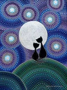 Puntillismo, dot art, point to pointCats under the moon for cat lovers A magnet on the fridge Dot Art Painting, Mandala Painting, Painting Patterns, Stone Painting, Mandala Dots, Mandala Design, Mandala Art Lesson, Inspiration Art, Aboriginal Art
