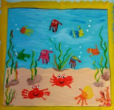 Ocean Crafts, Fish Crafts, Baby Crafts, Toddler Crafts, Daycare Crafts, Preschool Crafts, Art Drawings For Kids, Art For Kids, Kids Art Galleries