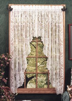 """Refresh and renew your space with our English Ivy Curtain Collection. Each lace piece features ivy leaves and vines that cascade through ornate grillwork. Made in the U.S.A.  DETAILS Swag Pair measures 86"""" x 63"""" Drape Shade measures 48"""" x 63"""" Valance measures 60"""" x 22"""" Panel available in sizes: 60"""" x 63"""" 60"""" x 84"""" Doo"""