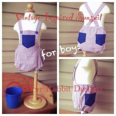 Vintage Inspired Sunsuit. Easy to make from a bloomer pattern, just add a bib and straps.