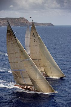 """sailing - sail identification:  the sail lettering identifies """"J"""" class yachts, registered to """"K"""" New Zealand, number """"7"""" -   the foreground yachit is illegible; the background yacht is obscured"""