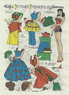 KATY'S KITCHEN FASHIONS Katy Keene Paper Doll  Reproduction from Betty and Veronica Digest Comic Book 2012