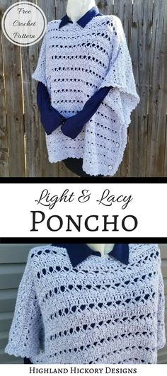Crochet the Light & Lacy Poncho to add to your seasonal wardrobe! This pattern is easy, free and constructed using only two large rectangular panels.