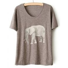 Simple Style Scoop Neck Short Sleeve Elephant Pattern T-Shirt For Women