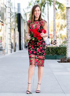 5e3dd1fd5c Sydne Style shares valentines day outfit ideas in red floral dress and  black sandals #florals