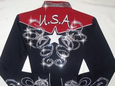 Patriotic embroidered usa. Barrel racing rodeo queen shirt