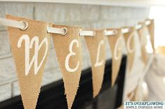 DIY Burlap Welcome Home Banner @ItsOverflowing.com
