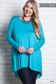 Long Sleeve Not So Basic Knit Top - Curvy - Three Colors Available