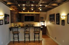 Interior Cute Unfinished Basement Ideas With Small Kitchen Baar Three Wooden Chair And Cabinet Budget-Friendly Unfinished Basement Ideas