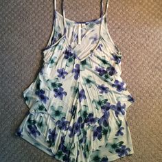 Floral print ruffle tank top Beautiful purple and green watercolor flowers make this ruffled tank top really stand out. Super soft and comfortable. LC Lauren Conrad Tops Tank Tops