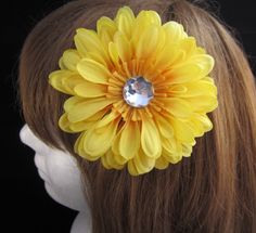#Handmade Yellow Flower and Jewel Hair Clip by ninjavspirategifts on Etsy, $8.00